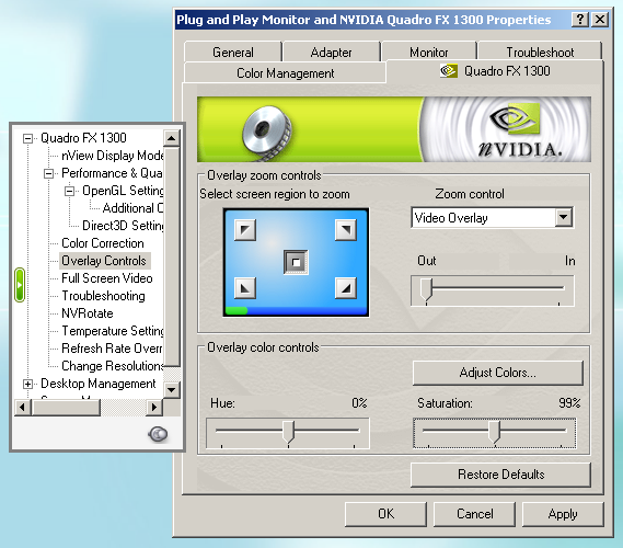 Brightness and Contrast settings for nVidia Quadro FX 1300