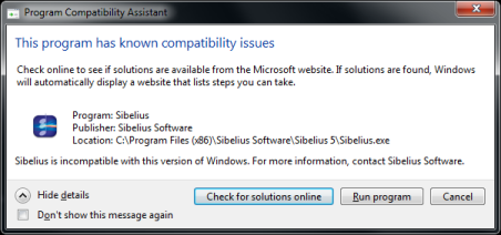 Running Sibelius 4 and 5 on Windows 7: Compatibility notice