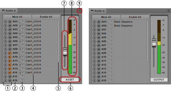 The Audio Pane for Asset Mode and Basic Sequences